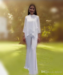 Cheap White Long Pants Canada - 2018 sexy cheap dubai evening dresses mother of the bride pant suits white mermaid long sleeve prom dress