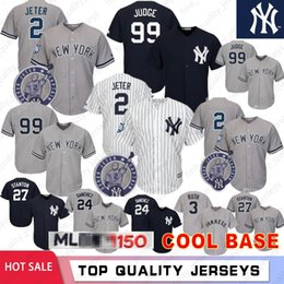 Discount mlb jerseys - Yankees 99 Aaron Judge 2 Derek Jeter 27 Giancarlo Stanton 150th Baseball Jerseys New York 24 Gary Sanchez Yankees Embroi