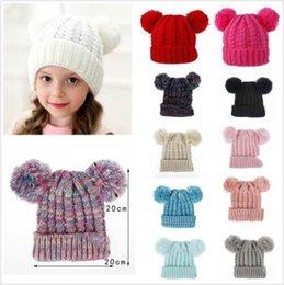 QA/_ EG/_ Baby Kid Girls Boys Faux Fox Fur Ball Woolen Yarn Knitted Hat Cap Bean