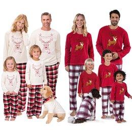 Famille Pyjama Ensembles de No/ël Tenues /à Deux Pi/èces Manches Longues Tops Long Pantalon /écossais V/êtement de Nuit Tenues pour M/ère Papa Gar/çon Fille B/éb/é