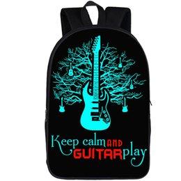 Casual School Backpack Guitar Music Instrument Collage Print Laptop Rucksack Multi-Functional Daypack Book Satchel