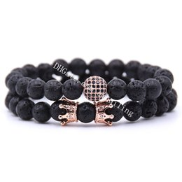 8mm Natural Amethyst Beads /& White Jade Beads with Micro Pave Cubic Zirconia Rose Gold Plated King Crown Stretch Beaded Bracelet for Women