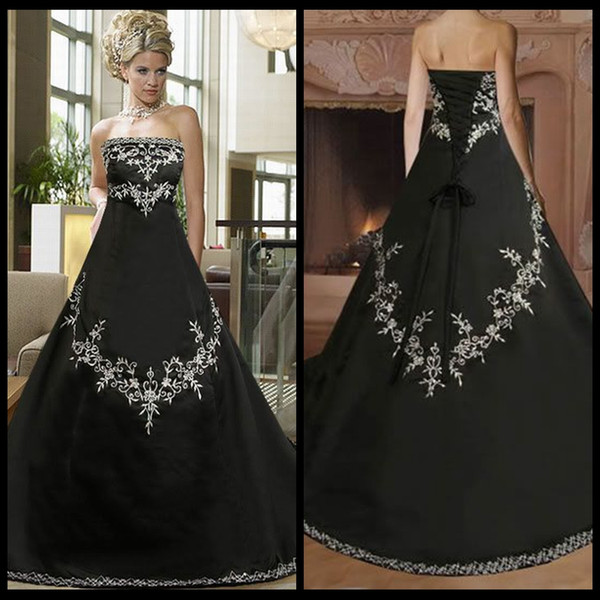 Cheap Black And White Gothic Wedding Dress Plus Size Satin ...