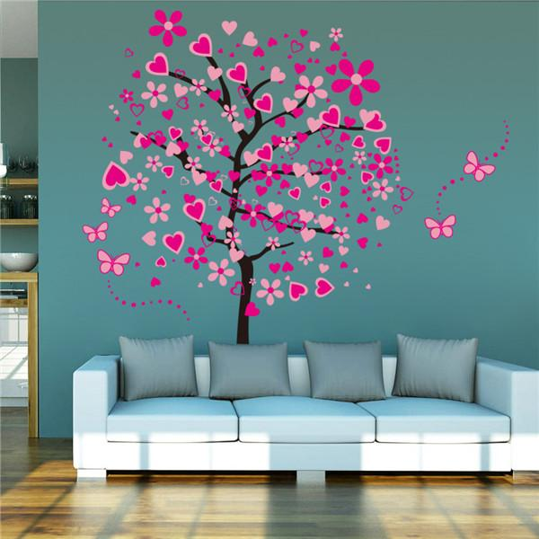 miglior prezzo grande wallpaper fai da te pink farfalla fiore ... - Decorare Soggiorno Fai Da Te 2