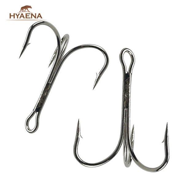 50Pcs Strong Fishing Treble Hooks Feather Dressed 2//4//6//8//10# Tackle Tool Kit