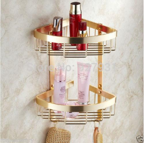 Freies Verschiffen Großhandels Wand Befestigtes Goldenes Badezimmer  Organisieren Speicher Doppelt Reihe Badezimmer