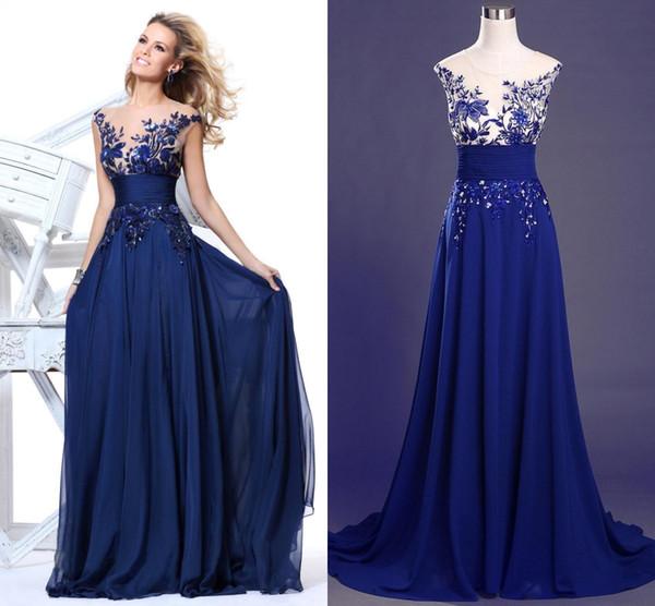 Cheap Royal Blue Prom Dresses Chiffon Sheer Jewel Neck Cap Sleeve ...