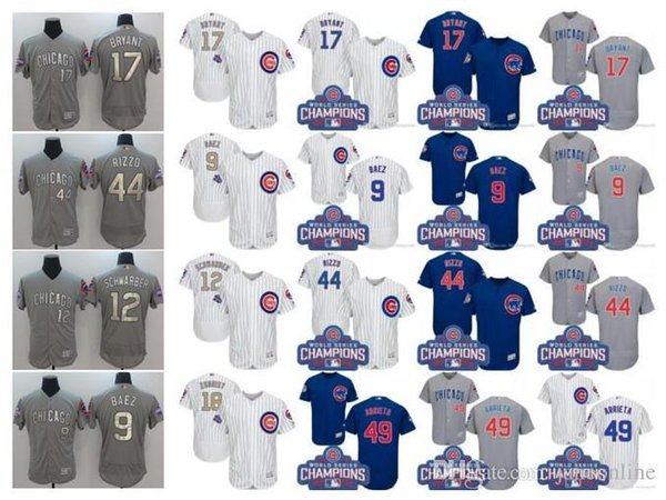buy online 65096 2cf85 2017 2017 Men'S Chicago Cubs Jersey 12 Kyle Schwarber 44 Anthony Rizzo 9  Javier Baez 17 Kris Bryant World Series Champions Gold S Baseball J From ...