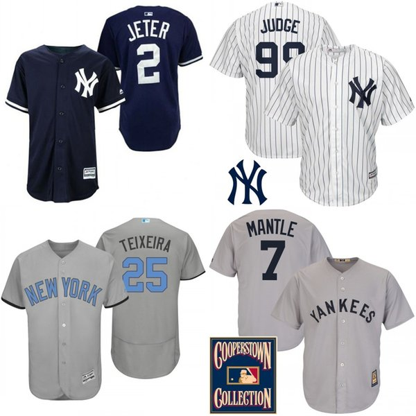 low priced e915b f641c 2017 2017 Custom New York Yankees Jersey Derek Jeter Mark Teixeira Aaron  Judgenew Mickey Mantle Brett Gardner Jerseys Home Away Flexbase Navy Blu  From ...