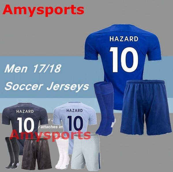 official photos 1af87 3108f 2017 2017/2018 Chelsea Kit Set Soccer Jersey Shirt+Short+Socks Custom  Morata Hazard Pedro Diego Costa Kante Home Away Third Football Shirt From  ...