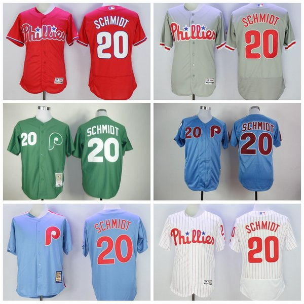 official photos b9b06 024b2 2017 Baseball Jerseys Philadelphia Phillies #20 Mike Schmidt Authentic  Jersey Mitchell And Ness Throwback Mlb White Pinstripe Blue Grey Stitched  From ...