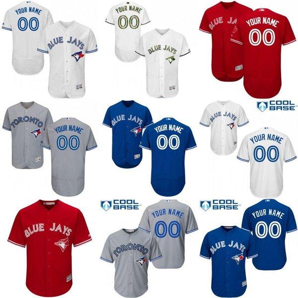 online retailer 50831 97266 2017 Baseball Jerseys Men'S Toronto Blue Jays Customized Majestic Blue  White Red Grey Flexbase Cool Base Authentic Custom Jersey Size S 4xl From  ...