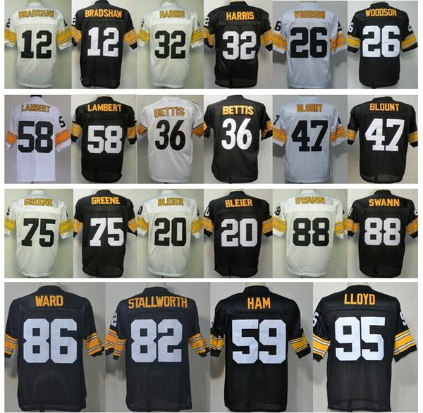 brand new 9cc18 ac34c 2017 Throwback #12 Terry Bradshaw Jersey Stitched Rocky Bleier Rod Woodson  Jerome Bettis Mel Blount Jack Lambert Greg Lloyd Mike Webster Jerseys From  ...