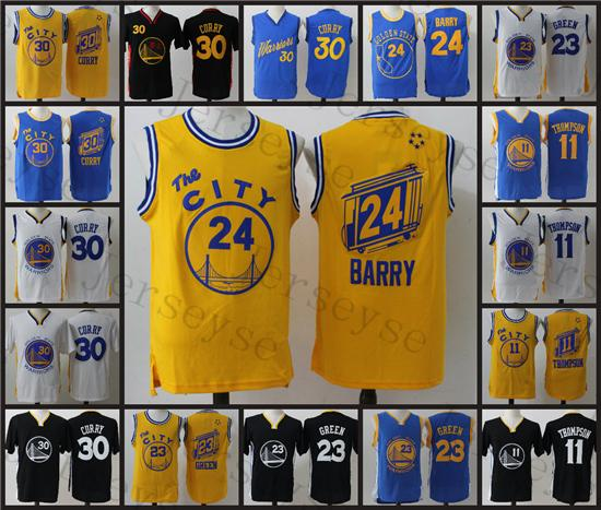 sports shoes 59df1 2954d 2017 Golden State Shirts Top Basketball Men Youth Warriors,11 Klay Thompson  30 Stephen Curry 23 Green Throwback City Jersey From Jerseyse04, $19.6   ...