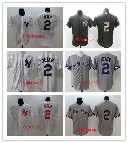 wholesale dealer cacb5 660ad 2017 Derek Jeter Jersey #2 New York Yankees Baseball Jersey Flexbase  Coolbase White Black Grey Home Away From Yongxinbomaoyi, $17.76 | Dhgate.Com