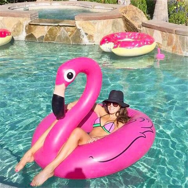 2017 hot 120 cm holiday flamingo swimming laps pool party float