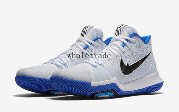 best sneakers 13066 b3f4c Cheap 2017 Kyrie 3 Hyper Cobalt Mens Basketball Shoes Kyrie 3s White Blue  Sneakers For Sale Size 7 12 Come With Box Mens Sneakers Basketballs From ...
