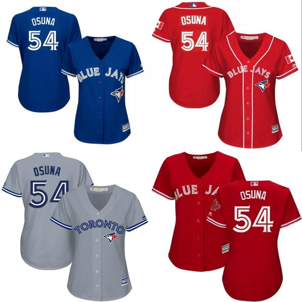 separation shoes ece6e 07705 2017 Womens Toronto Blue Jays Jersey 54 Roberto Osuna Blue Red Grey White  Offical National Flag Cool Base Jersey From Jerseyskingdom, $21.11 | ...