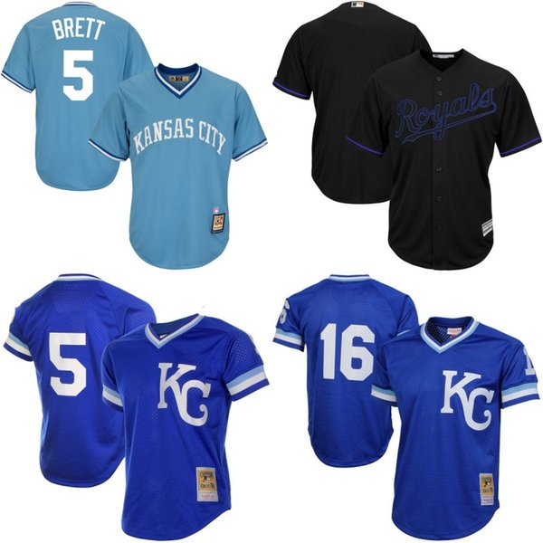 new arrival 007d9 05754 2017 Kansas City Royals Throwback Jersey Cooperstown Collection Men'S #5  George Brett #16 Bo Jackson Baseball Jerseys Blue Black Mix Ordser From ...