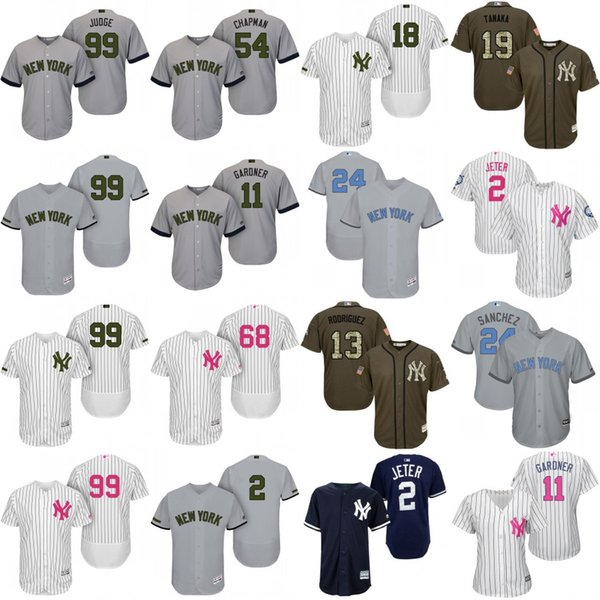 designer fashion f872e 41252 2017 New York Yankees Jersey Memorial Day Green Salute To Service Father  Mather David Wright Michael Derek Jeter Gary Sanchez Aaron Judge Babe Ru  From ...
