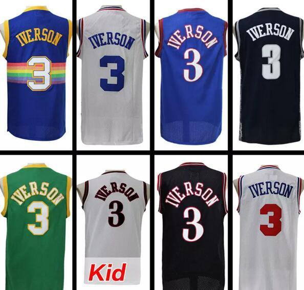 newest ac175 168d0 2017 100% Stitched #3 Allen Iverson Retro Jersey Allen Iverson Kids  Basketball Jersey Allen Iverson High School The University Of Jerseys From  ...